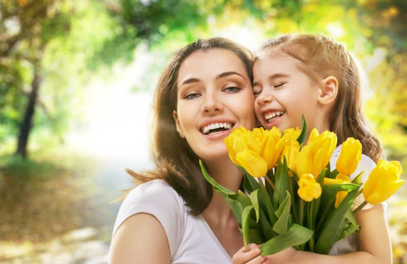 happy mother and child together